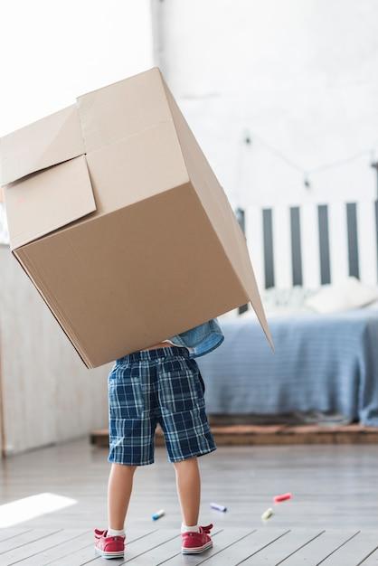 Vista traseira, de, um, menino, segurando, caixa papelão, ligado, seu, costas, casa Foto gratuita