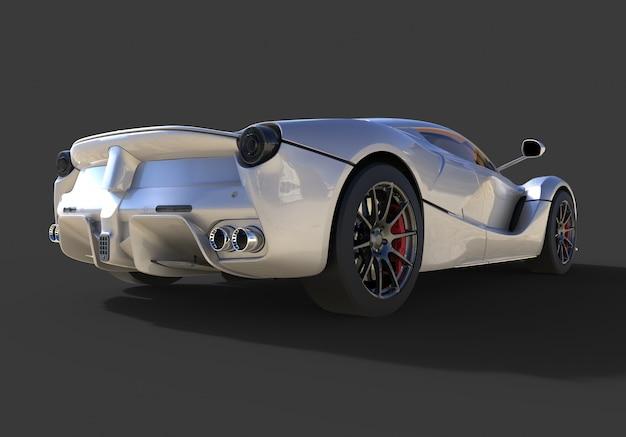 Vista traseira do carro esportivo a imagem do carro cinza esportivo no preto Foto Premium
