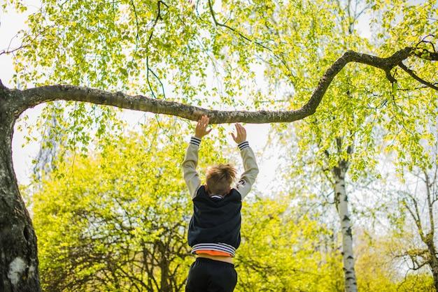 Vista traseira do menino que joga em uma filial Foto gratuita