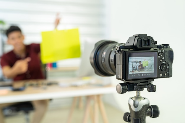 Vlog do comerciante on-line ao vivo Foto Premium
