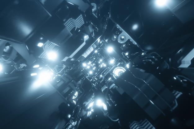 Voando no túnel da nave espacial, corredor da nave espacial de ficção científica Foto Premium