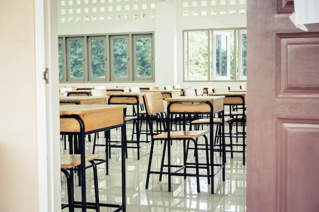 Volta ao conceito de escola. sala de aula vazia de escola Foto Premium