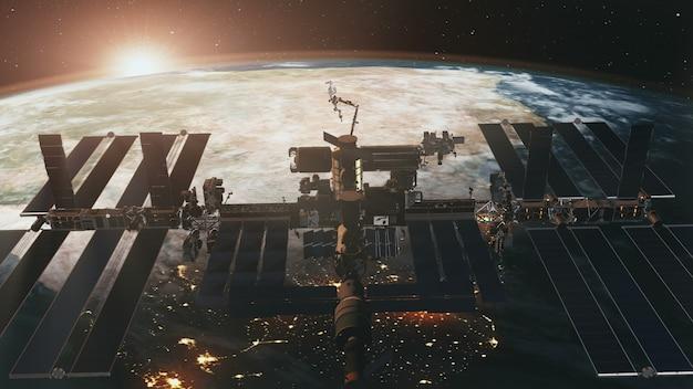 Voo espacial da estação espacial internacional ao pôr do sol da terra em animação 3d. Foto Premium
