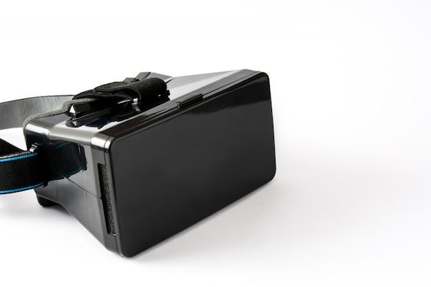 Vr. fone de ouvido de realidade virtual preto isolado no branco Foto Premium
