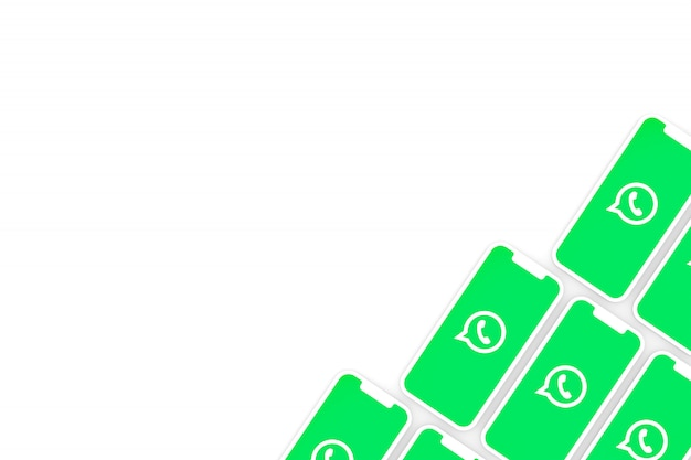 Whatsapp logotipo fundo na tela do smartphone ou render 3d móvel Foto Premium