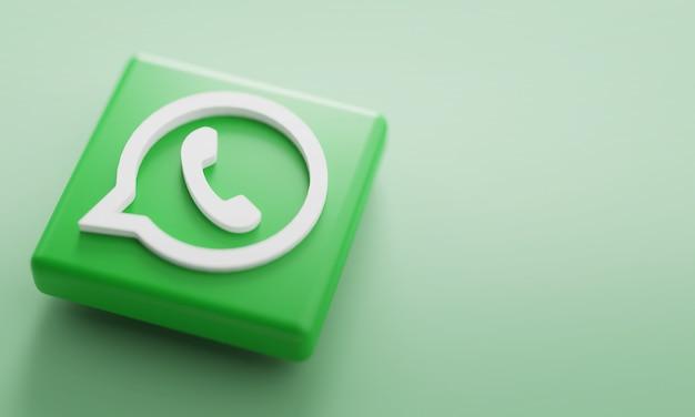 Whatsapp logotipo renderização em 3d close-up. modelo de promoção de conta. Foto Premium