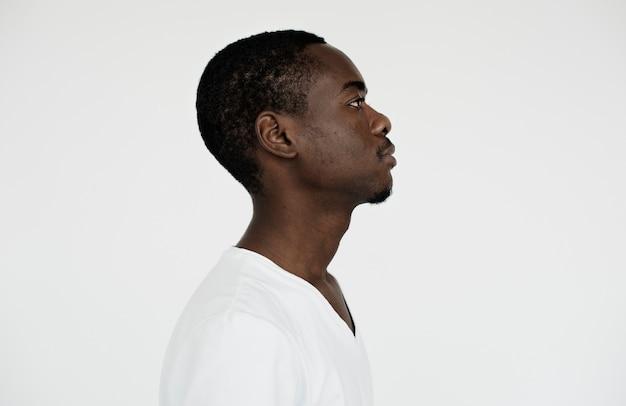 Worldface- vista lateral de um homem africano Foto gratuita