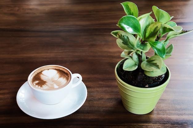Xícara de café com leite quente com pequeno pote de decoração de árvore verde Foto gratuita