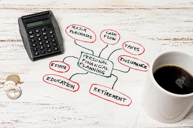 Xícara de café e finanças de planejamento pessoal Foto gratuita