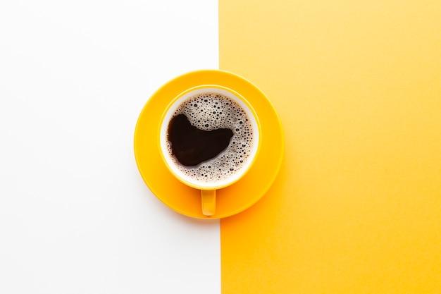 Xícara de café fresco vista superior Foto Premium