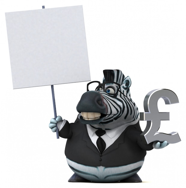Zebra divertida - ilustração 3d Foto Premium