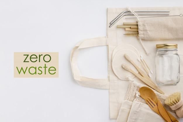 Zero resíduos, reciclagem, conceito de estilo de vida sustentável, configuração plana Foto Premium