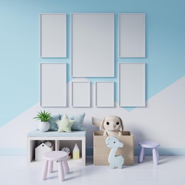 Zombe de cartazes no interior do quarto de criança em tons pastel de parede. Foto Premium