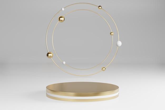 Zombe de estúdio com formas cilíndricas em mármore, pódio, plataformas para apresentação do produto, com decoração de objetos de ouro sobre fundo cinza. renderização em 3d Foto Premium