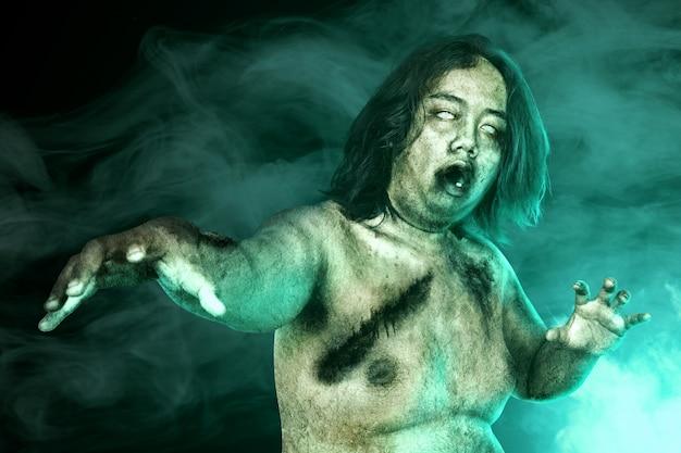 Zumbis assustadores com sangue e ferida em seu corpo Foto Premium