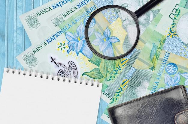 1 rumänische leu-scheine und lupe mit schwarzer geldbörse und notizblock Premium Fotos