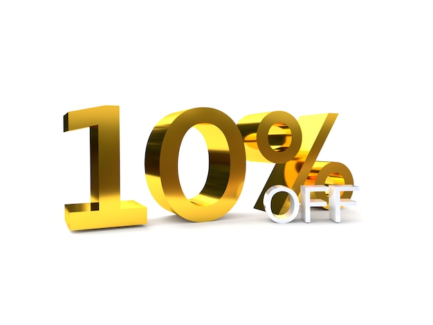 10% rabatt auf den rabatt. goldene 3d-zahl. Premium Fotos