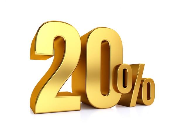 20 prozent auf weißem hintergrund. 3d-rendering gold metall rabatt. 20% Premium Fotos