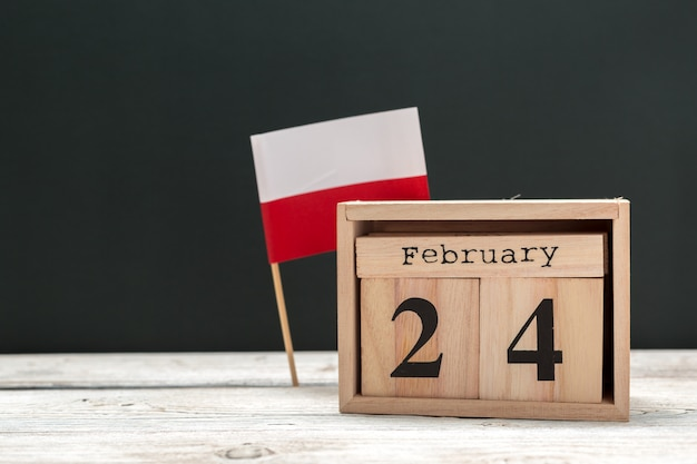 24. februar. tag 24 des monats februar, kalender flach, ansicht von oben. winterzeit Premium Fotos