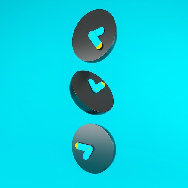 3 schwarz und blau und gelb wecker symbol auf blauem hintergrund fallen, zeitkonzept, minimale zusammensetzung, stilvolle abstrakte fraktale spiraluhr zifferblatt zeitspirale. 3d-illustration. Premium Fotos
