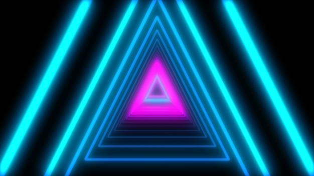 3d abstract lights neon dreiecke. loop-animation. Premium Fotos