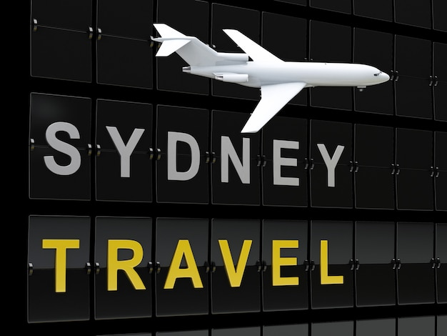 3d australia flughafen abflüge. reise nach sydney Premium Fotos