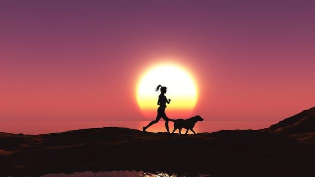 3d bei sonnenuntergang mit ihrem hund von einem weiblichen joggen machen Kostenlose Fotos