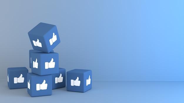 3d blue cubes mit facbook wie emoji-reaktion Premium Fotos