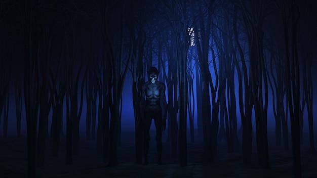 3d böse kreatur im wald in der nacht Premium Fotos