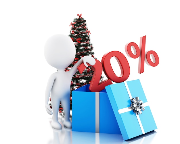 3d-box mit 20 prozent text und weihnachtsbaum Premium Fotos