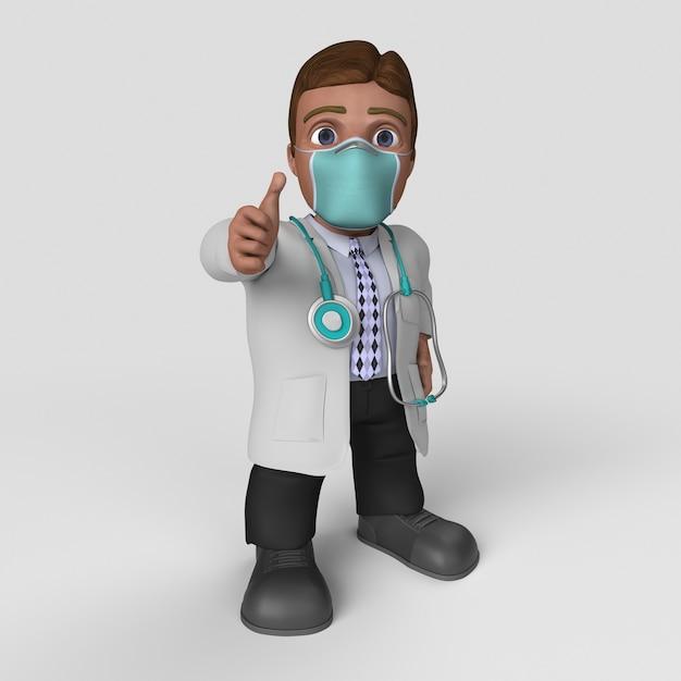 3d cartoon doctor character in der gesichtsmaske Kostenlose Fotos