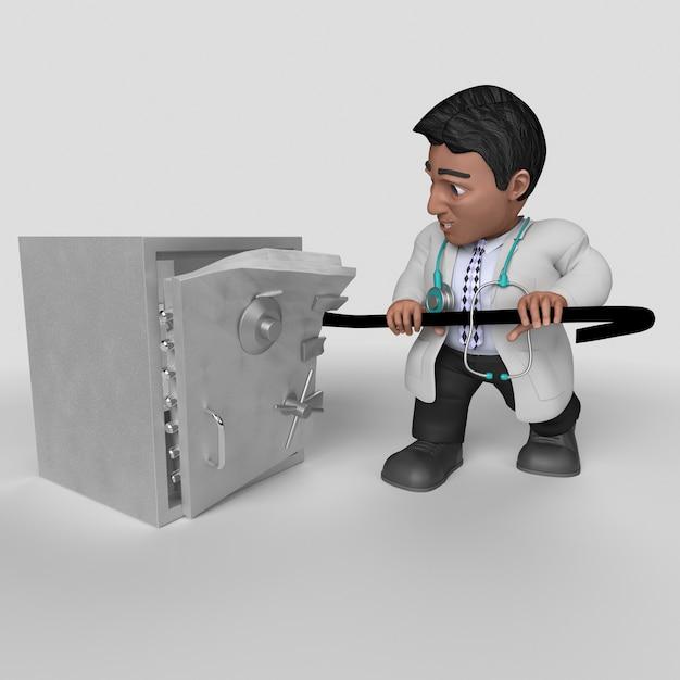 3d cartoon doktor charakter Kostenlose Fotos