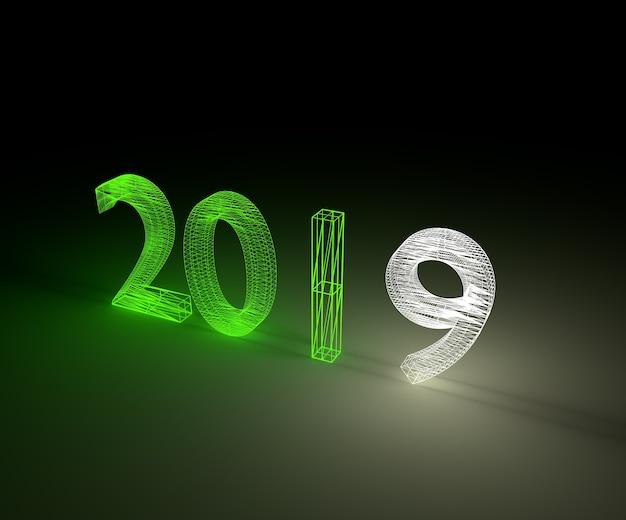 3d darstellung 2019 neujahr wireframe neonlicht. Premium Fotos
