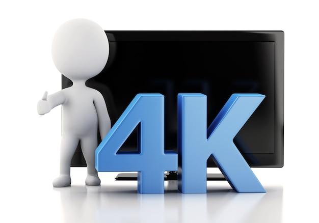 3d-darstellung. 4k ultra hd fernseher. technologie-konzept. Premium Fotos