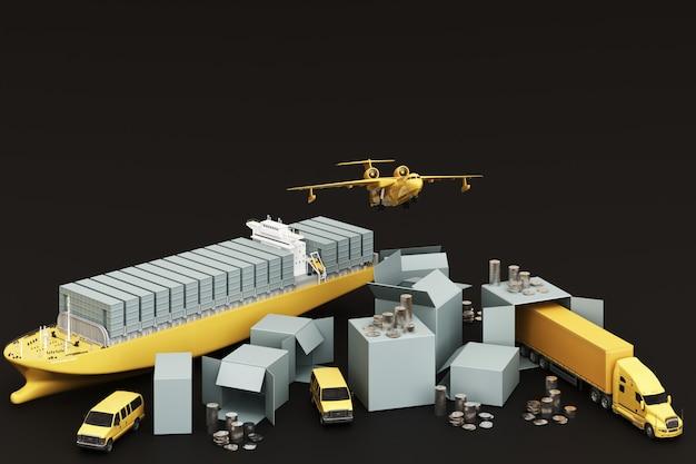 3d-darstellung der kistenbox, umgeben von pappkartons, einem frachtcontainerschiff, einem flugplan, einem auto, einem van und einem lkw auf schwarzem hintergrund Premium Fotos