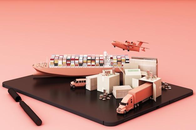 3d-darstellung des kistenkastens, umgeben von pappkartons, einem frachtcontainerschiff, einem flugplan, einem auto, einem van und einem lkw Premium Fotos