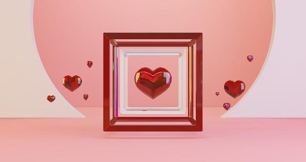 3d-darstellung des valentinsgrußes. rote kristallherzen, die im würfelrahmen auf rosa hintergrund, minimalistisch schweben. liebessymbol. moderner 3d-render. Premium Fotos