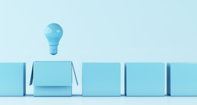 3d-darstellung. die glühbirne. idee und denken außerhalb des kastenkonzeptes. Premium Fotos