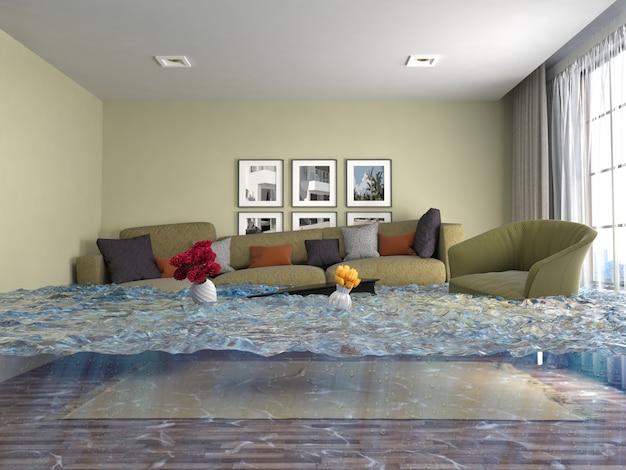 3d-darstellung eines überfluteten modernen raumes Premium Fotos