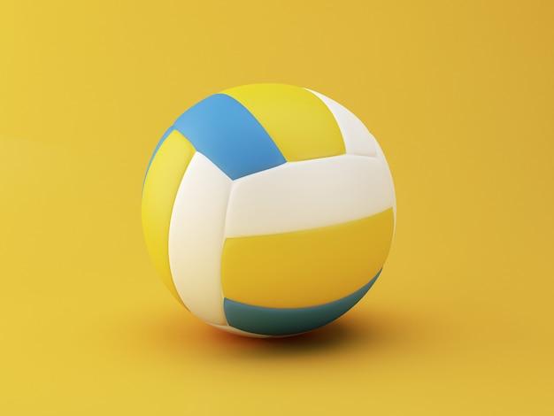 3d darstellung. volleyball auf gelbem hintergrund. sportkonzept. Premium Fotos