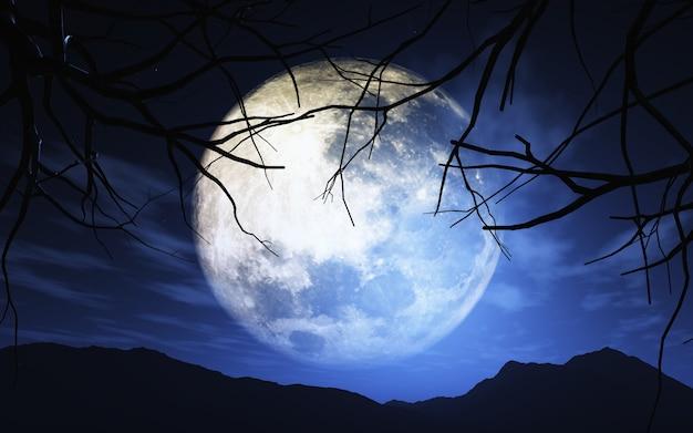 3d-darstellung von bäumen gegen einen moonlit himmel machen Kostenlose Fotos