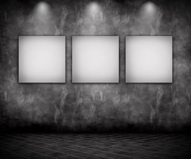 3d-darstellung von einem grunge-interieur mit leeren bildern unter scheinwerfern Kostenlose Fotos