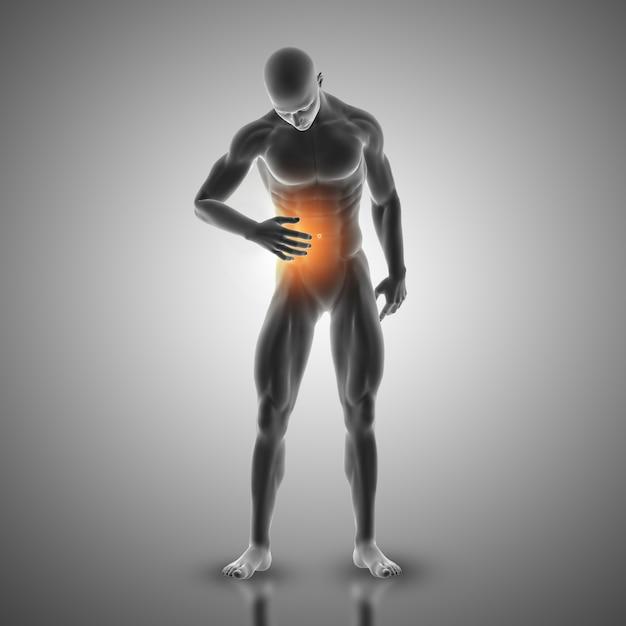 3D-Darstellung von einer männlichen Figur mit Magen in Schmerzen ...