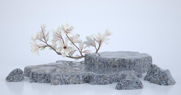 3d-darstellung von marmorpodest und magnolienblume. Premium Fotos