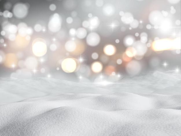 3d-darstellung von schnee machen vor dem hintergrund bokeh lichter Kostenlose Fotos