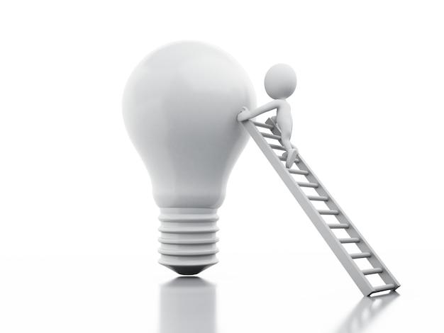 3d darstellung. weiße geschäftsmannleute klettern eine sehr große glühlampe von der leiter. Premium Fotos
