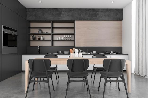 3d, das esszimmer und küche des schwarzen hölzernen dachbodens überträgt Premium Fotos