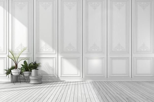 3d, das leeren weißen klassischen raum überträgt Premium Fotos