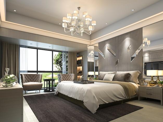 3d, das moderne luxusschlafzimmersuite im hotel überträgt Premium Fotos