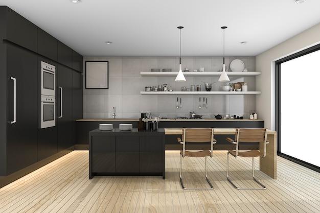3d, das moderne schwarze küche mit hölzernem dekor überträgt Premium Fotos
